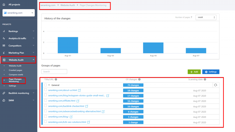 Page Changes Monitoring tool in SE Ranking