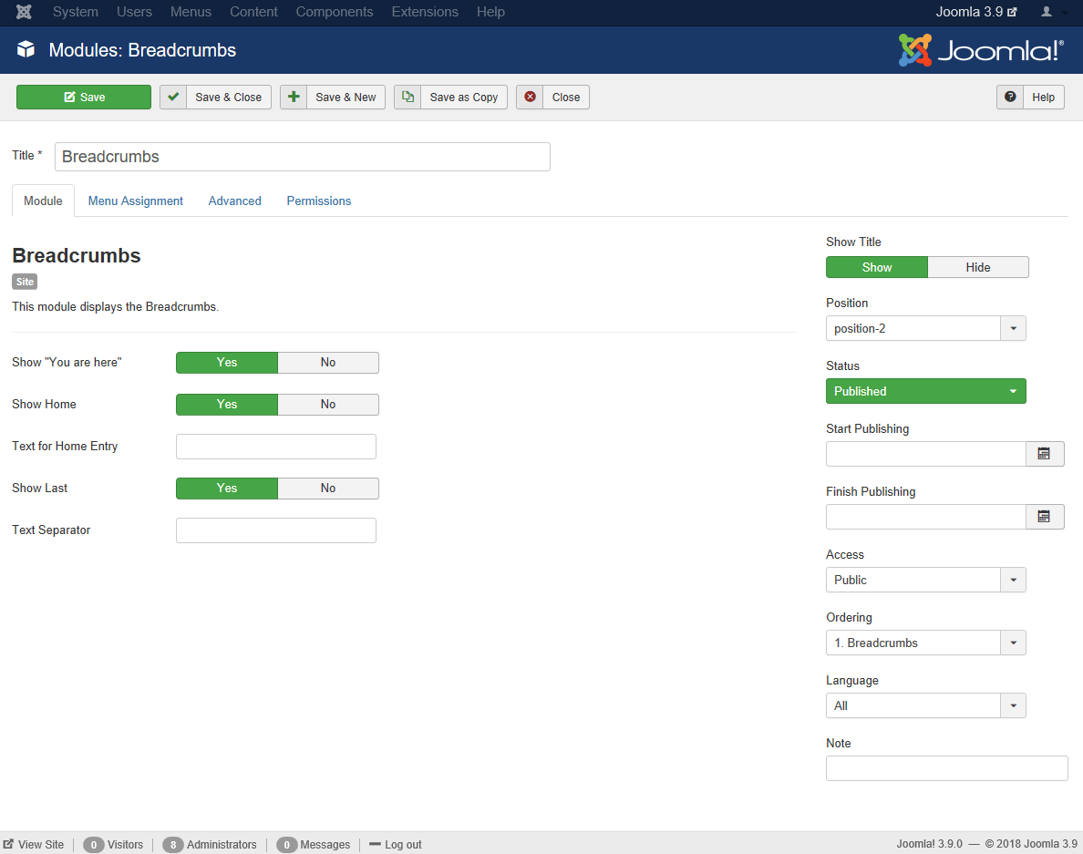 Joomla Breadcrumbs Module Settings