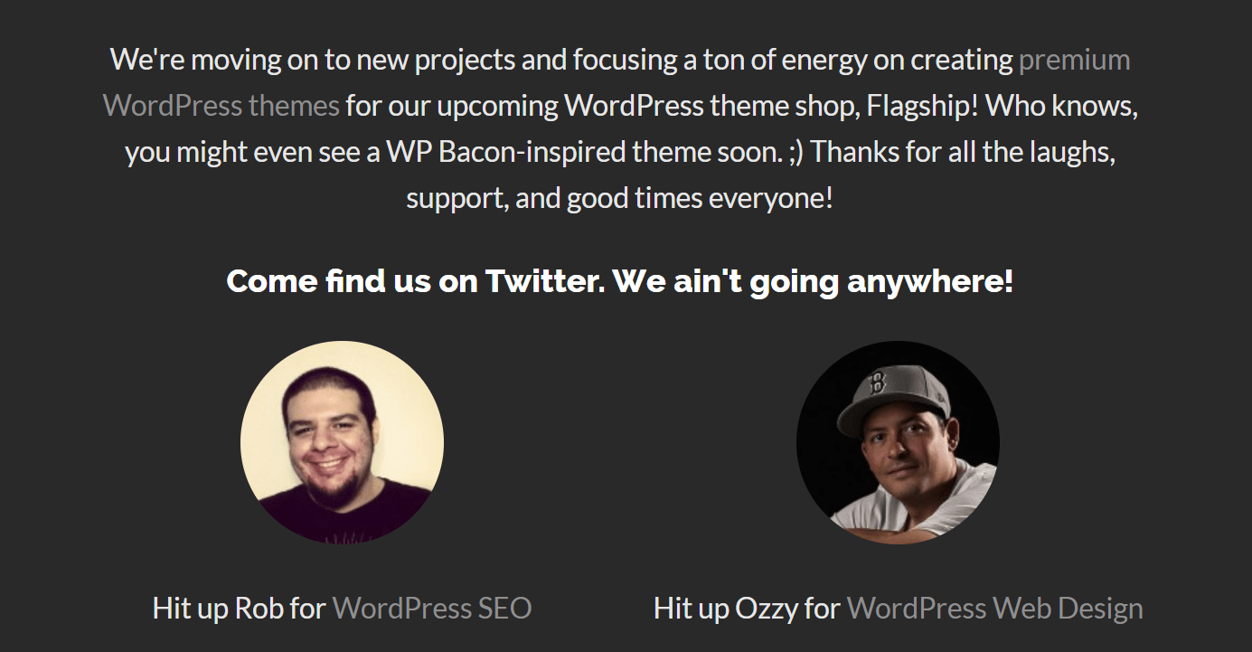 WP Bacon website moved