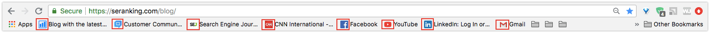 Example of bookmarked favicons
