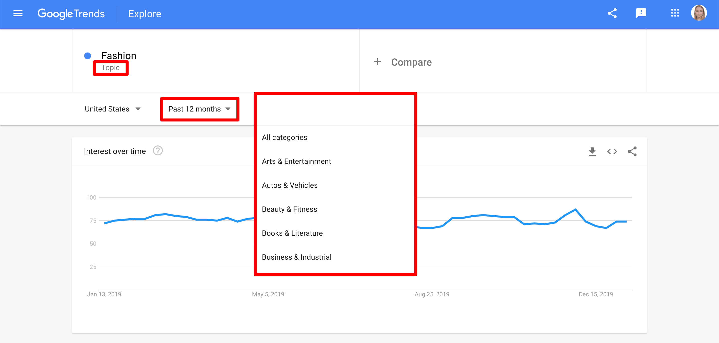 Filters in Google Trends Explore section