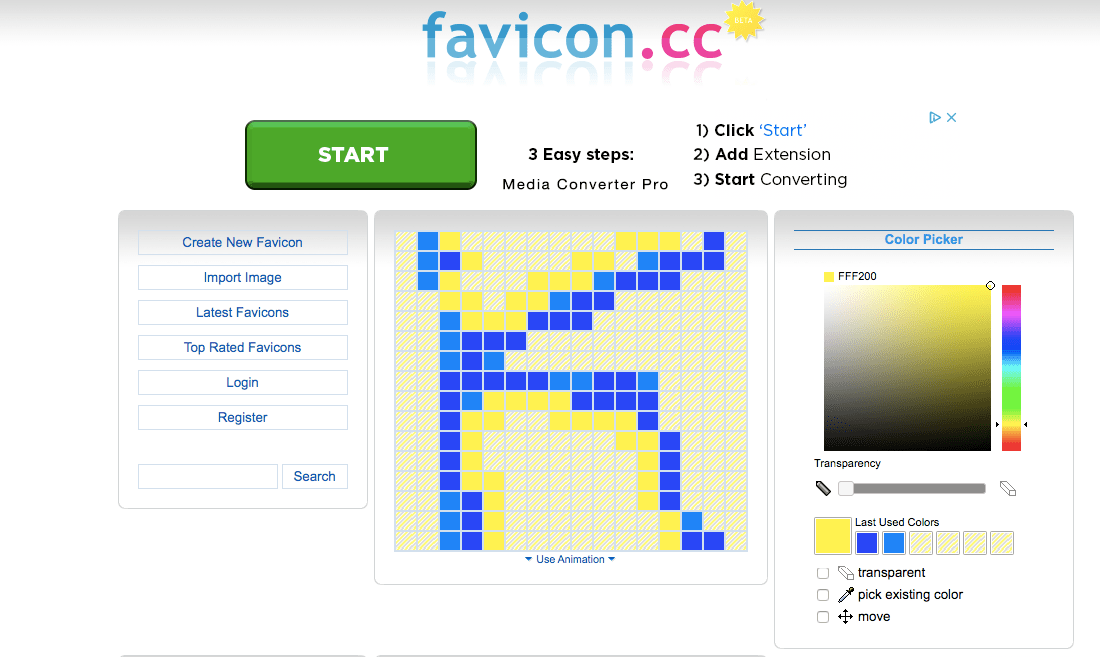 Screenshot of Favicon CC