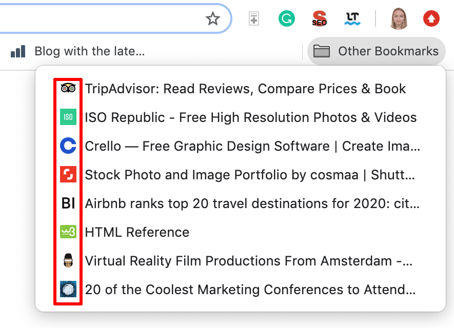 Favicons under Other Bookmarks