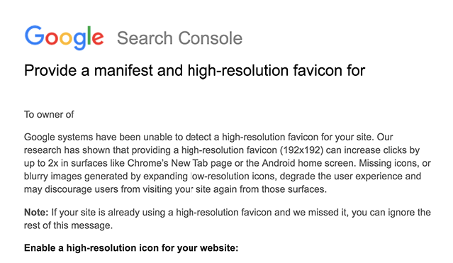 Google sends letter on favicons