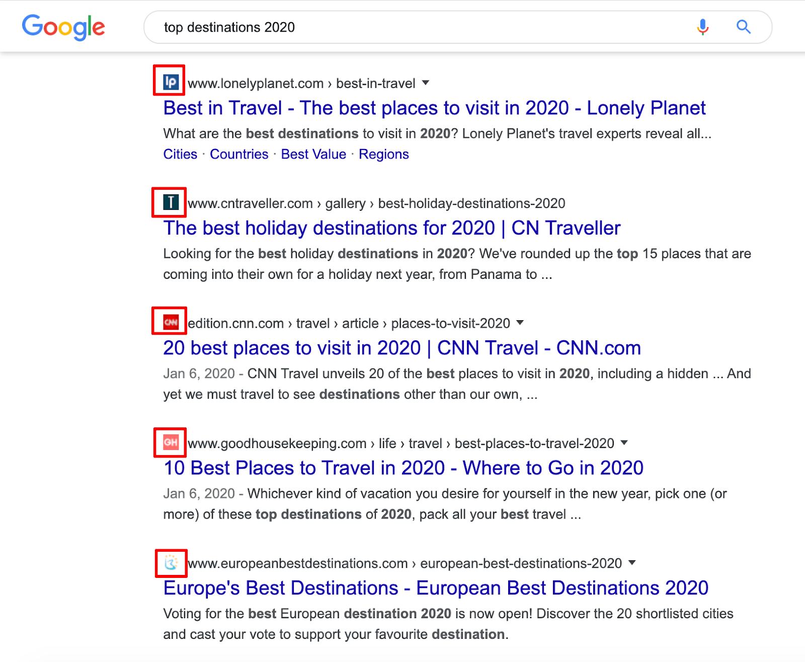 Example of favicons in the search results