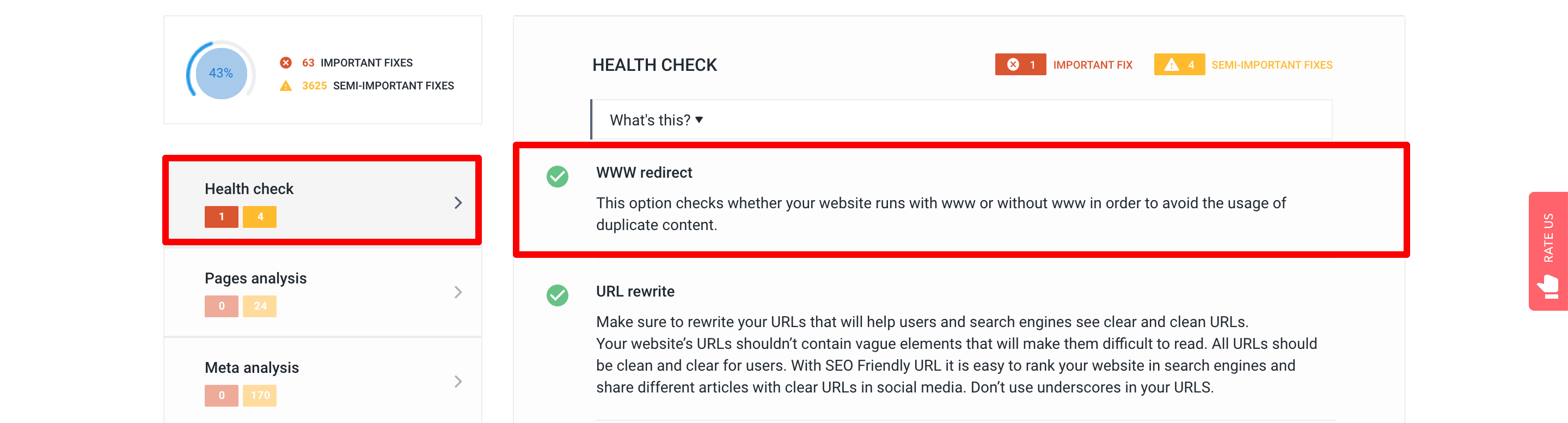 www redirect in Website Audit