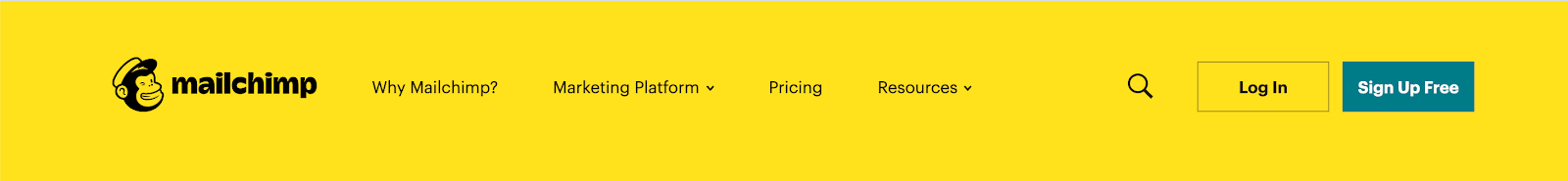 Mailchimp new design header