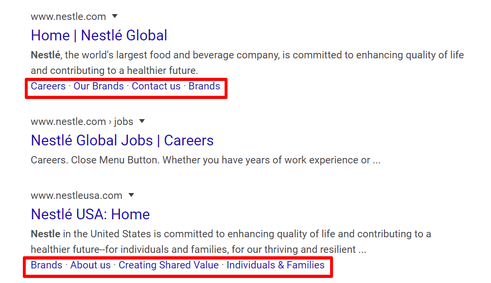 Two sets of one-line sitelinks in one SERP