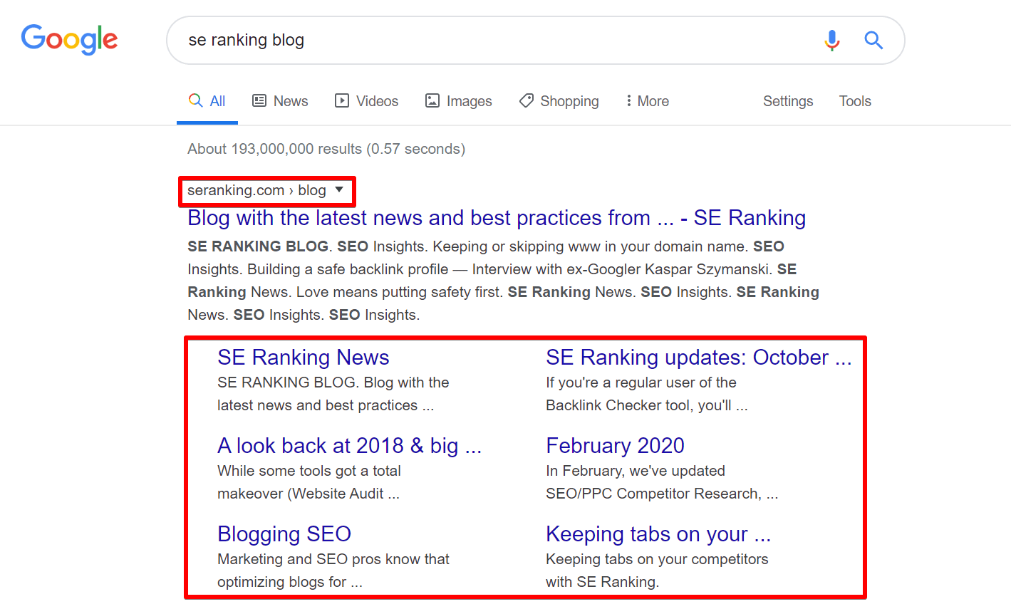 SE Ranking blog sitelinks