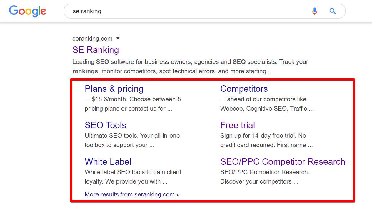 SE Ranking Google sitelinks