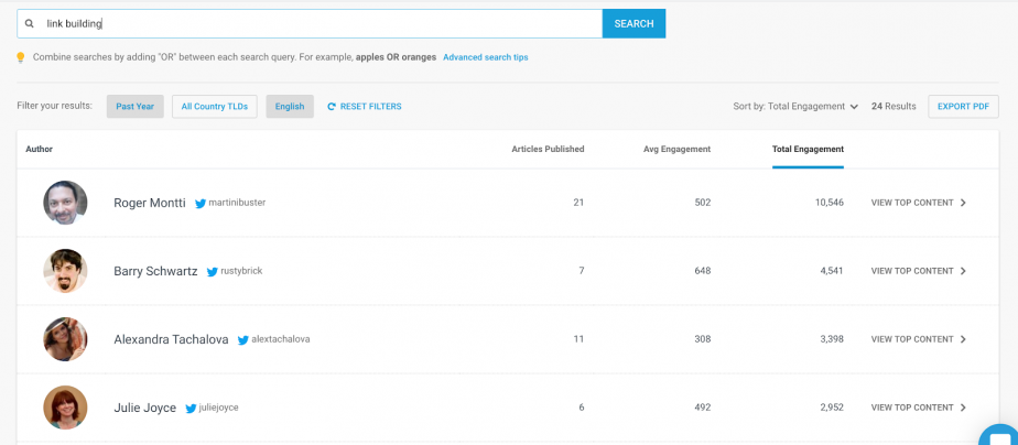 how to search for the topic in Buzzsumo