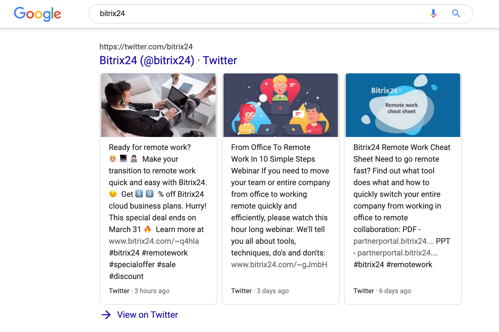 Twitter boxes in Bitrix24 Brand SERP