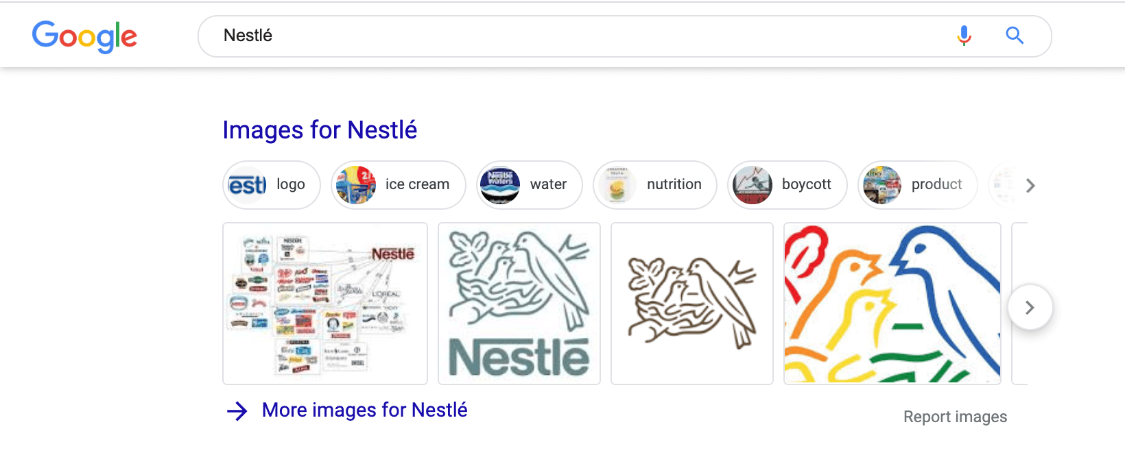 Images on Nestle Brand SERP
