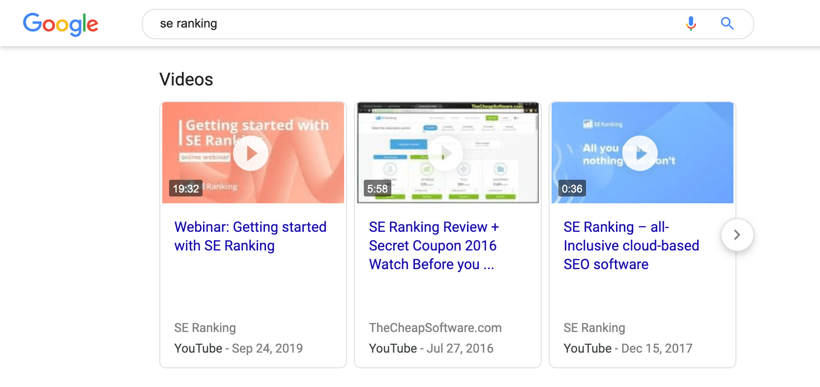 SE Ranking Brand SERP video snippets