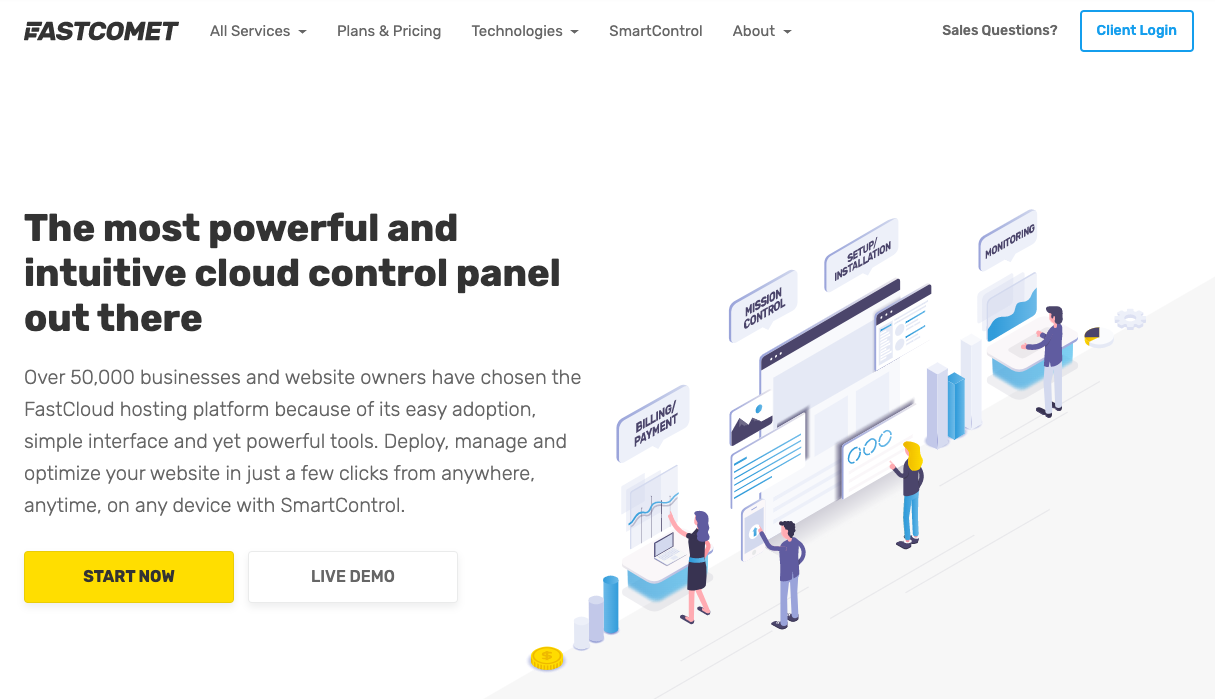 FastComet cloud-based web hosting platform
