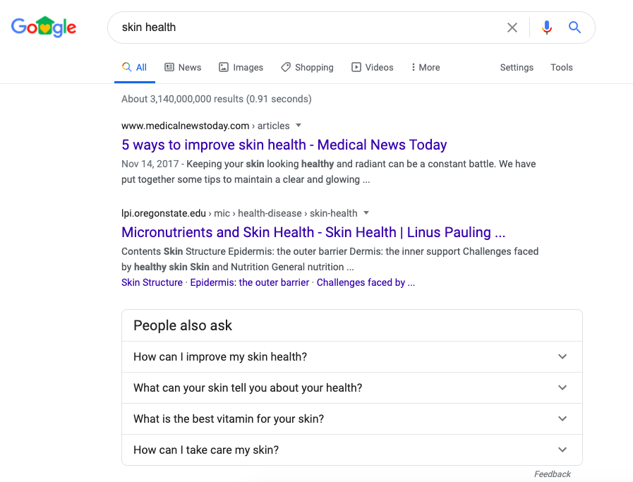 Google People also ask results example