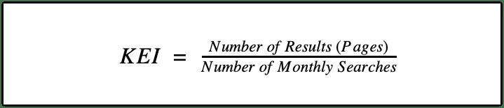 SE Ranking's Keyword Efficiency Index formula