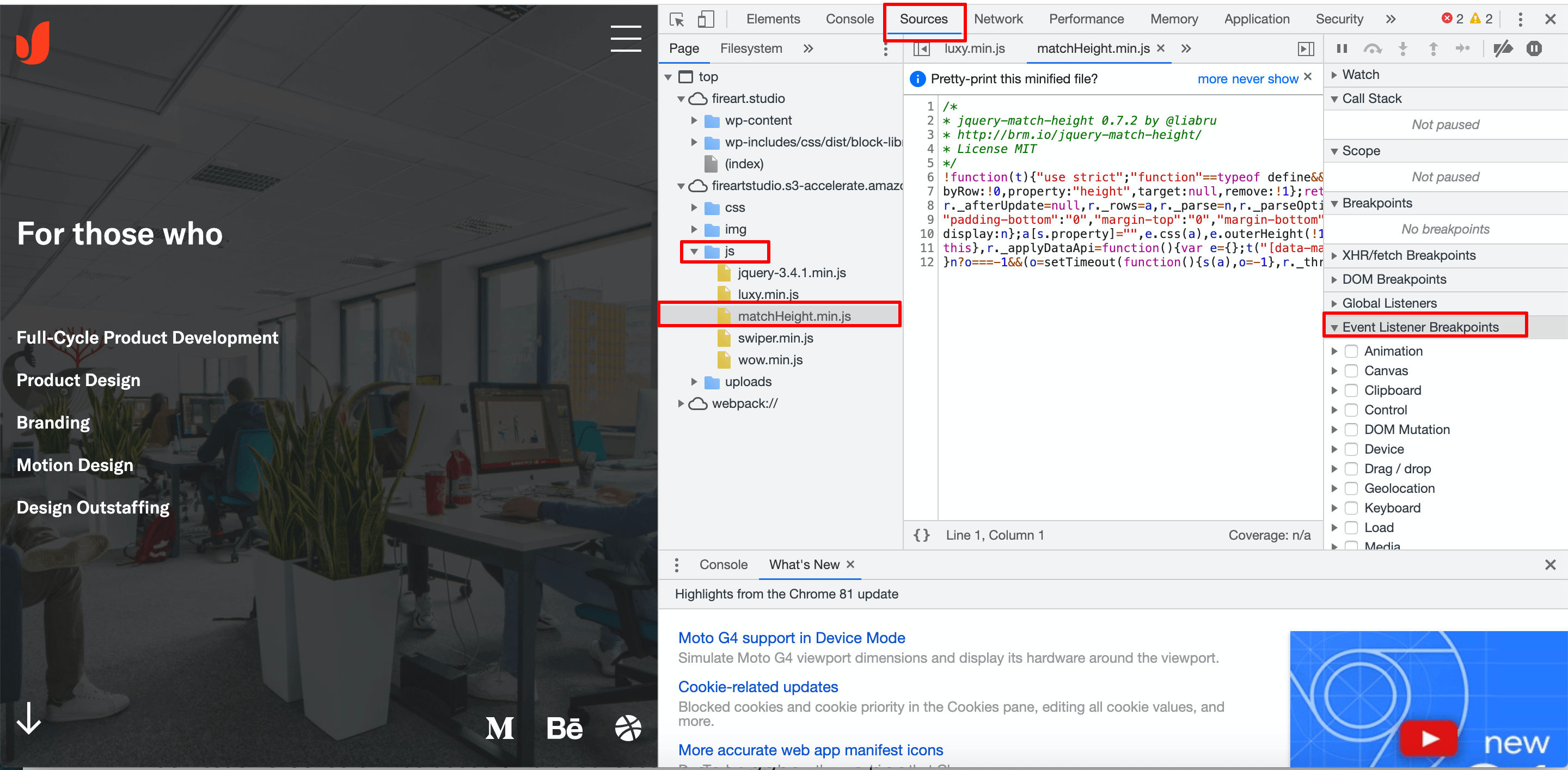 Debugging JavaScript in Chrome DevTools