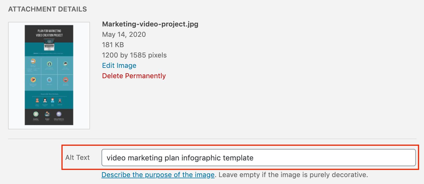 Adding alt text in WordPress