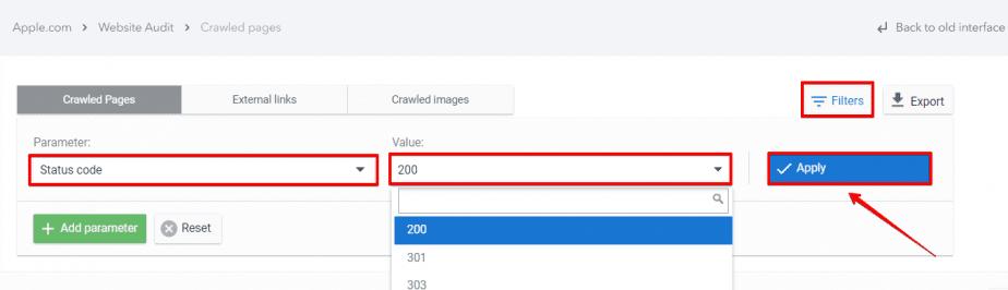 Adding the Status code filter in Website Audit