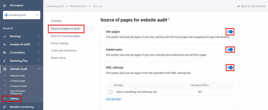 Configuring Source of pages for audit