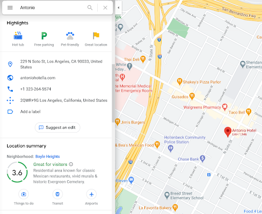 Example of Antonio Hotel ad on Google Maps