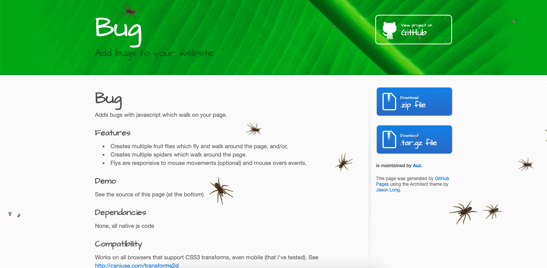 Example of a bug widget