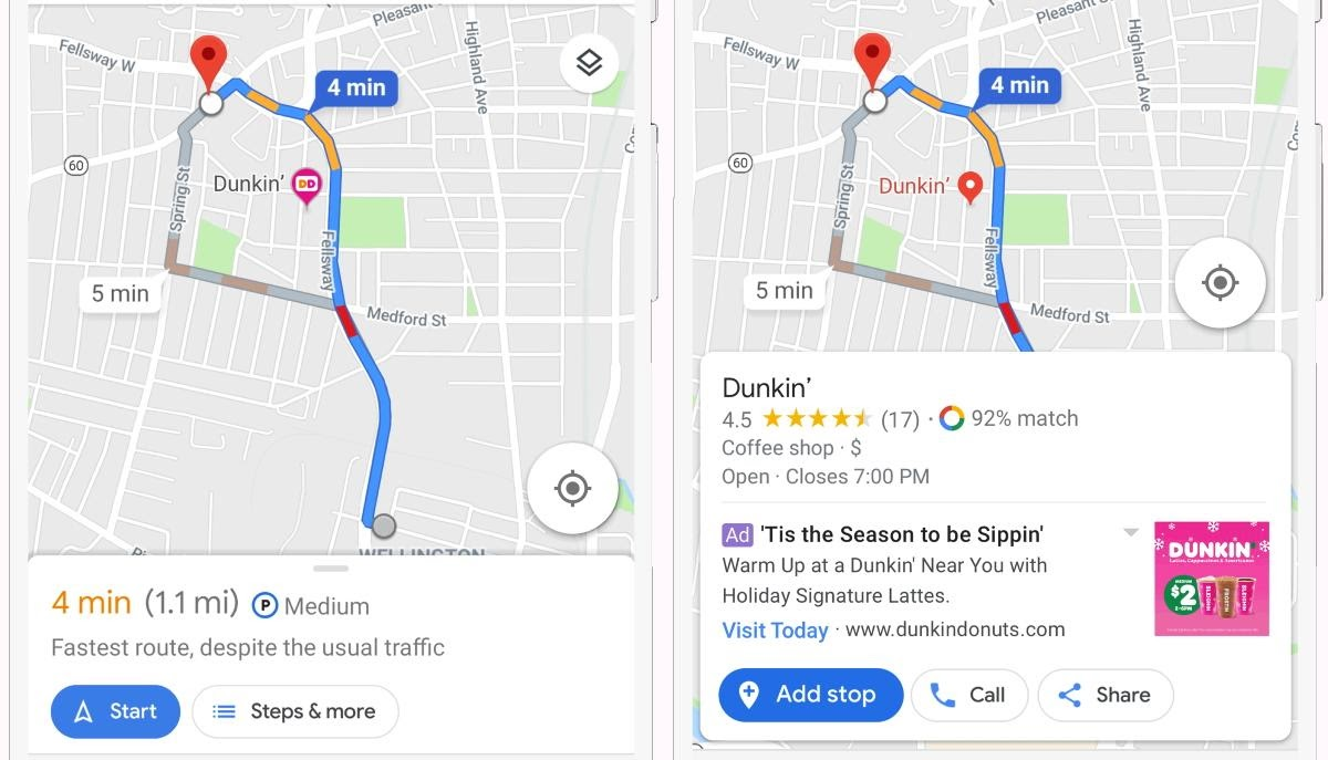 Example of Dunkin' ad on Google Maps