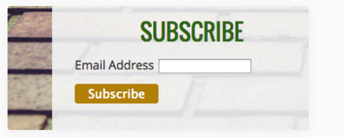 Example of an email subscription widget