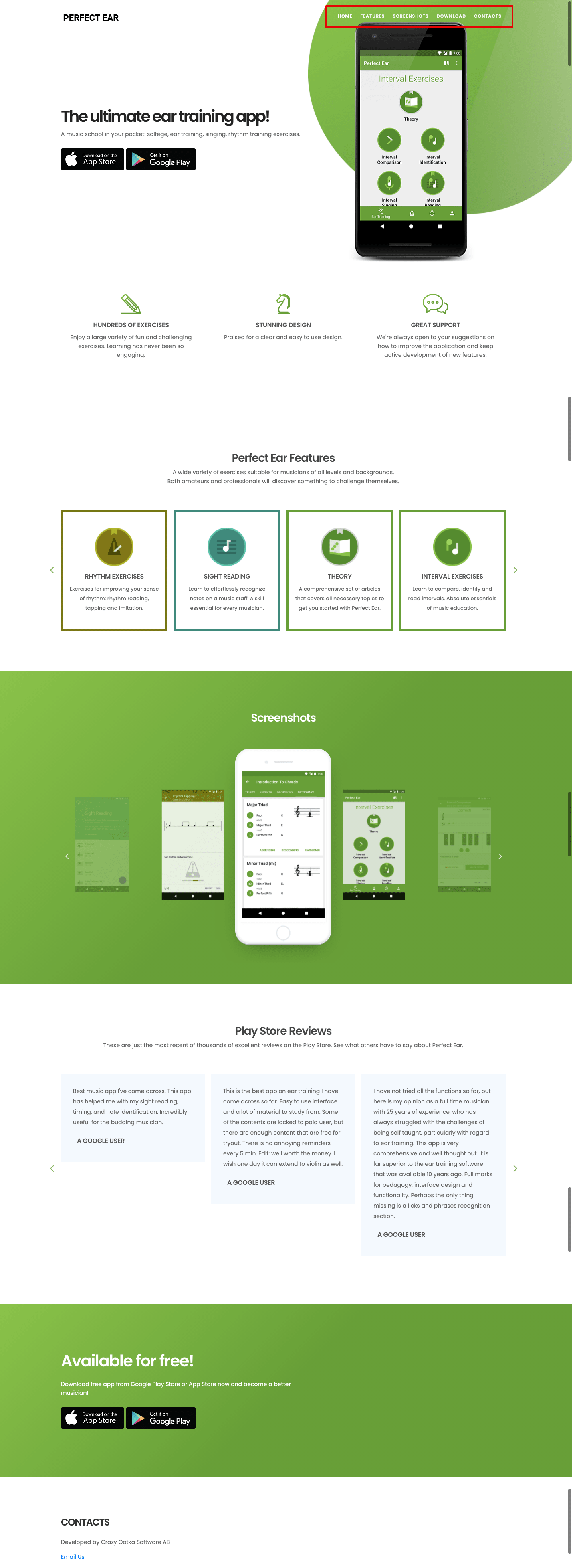 Product page with an anchored menu