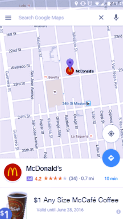 Example of purple pin on Google Maps