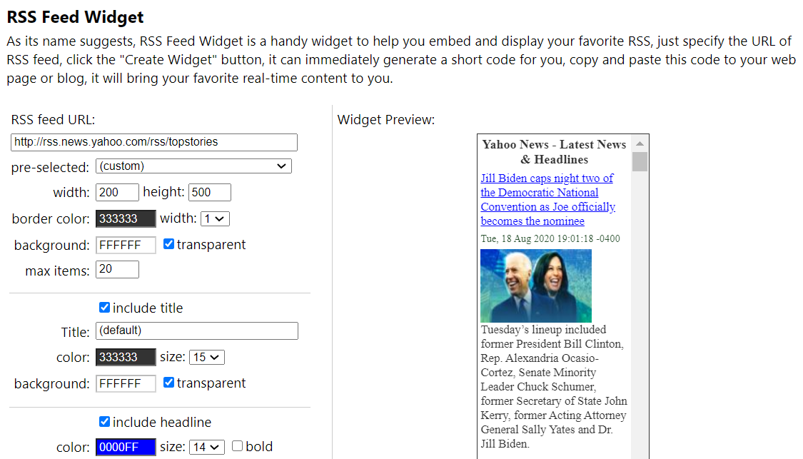 Example of an RSS feed widget