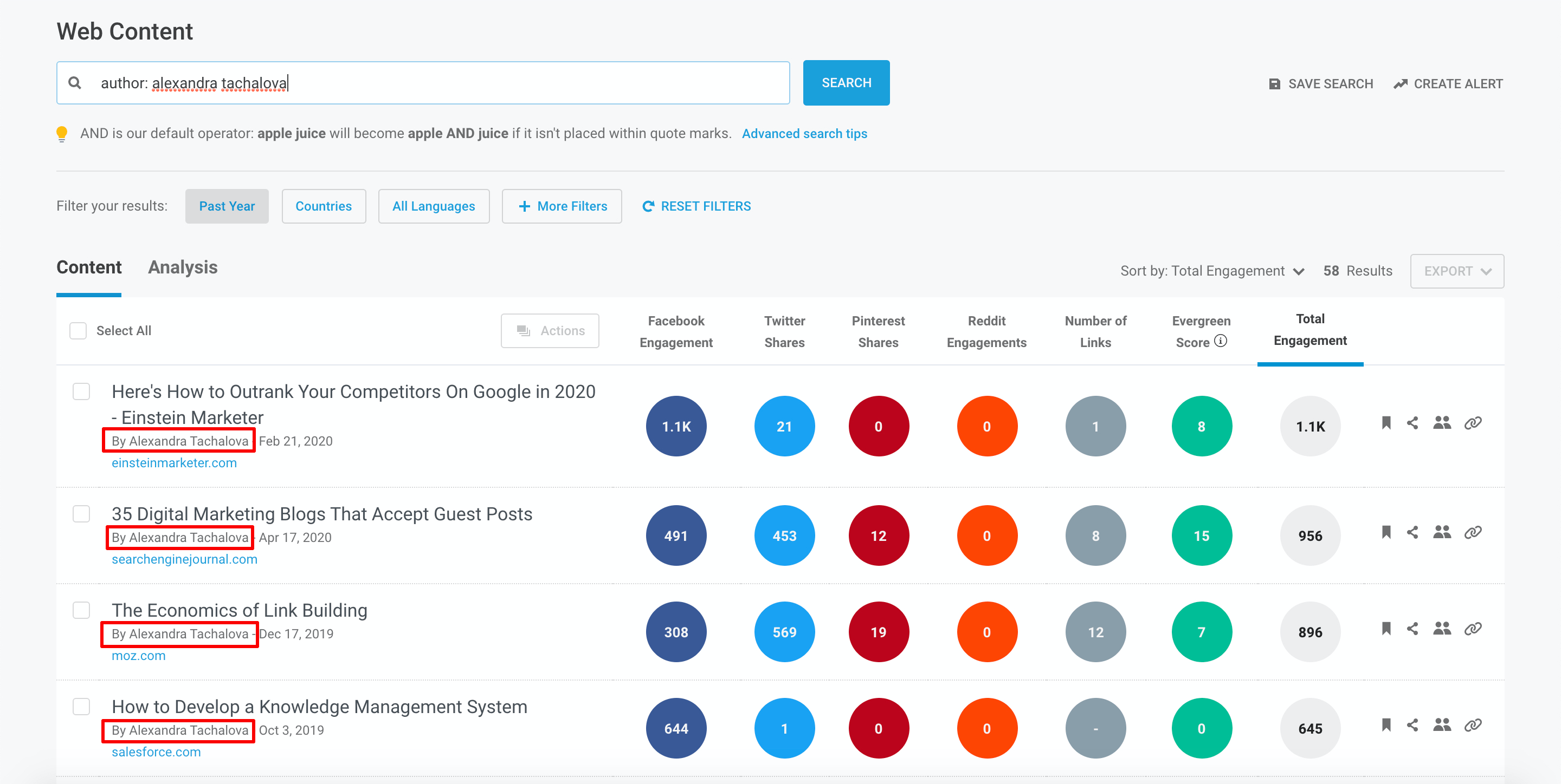 Search by author in BuzzSumo