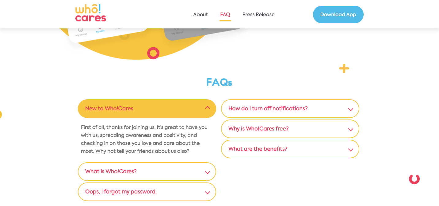FAQ on a single-page website