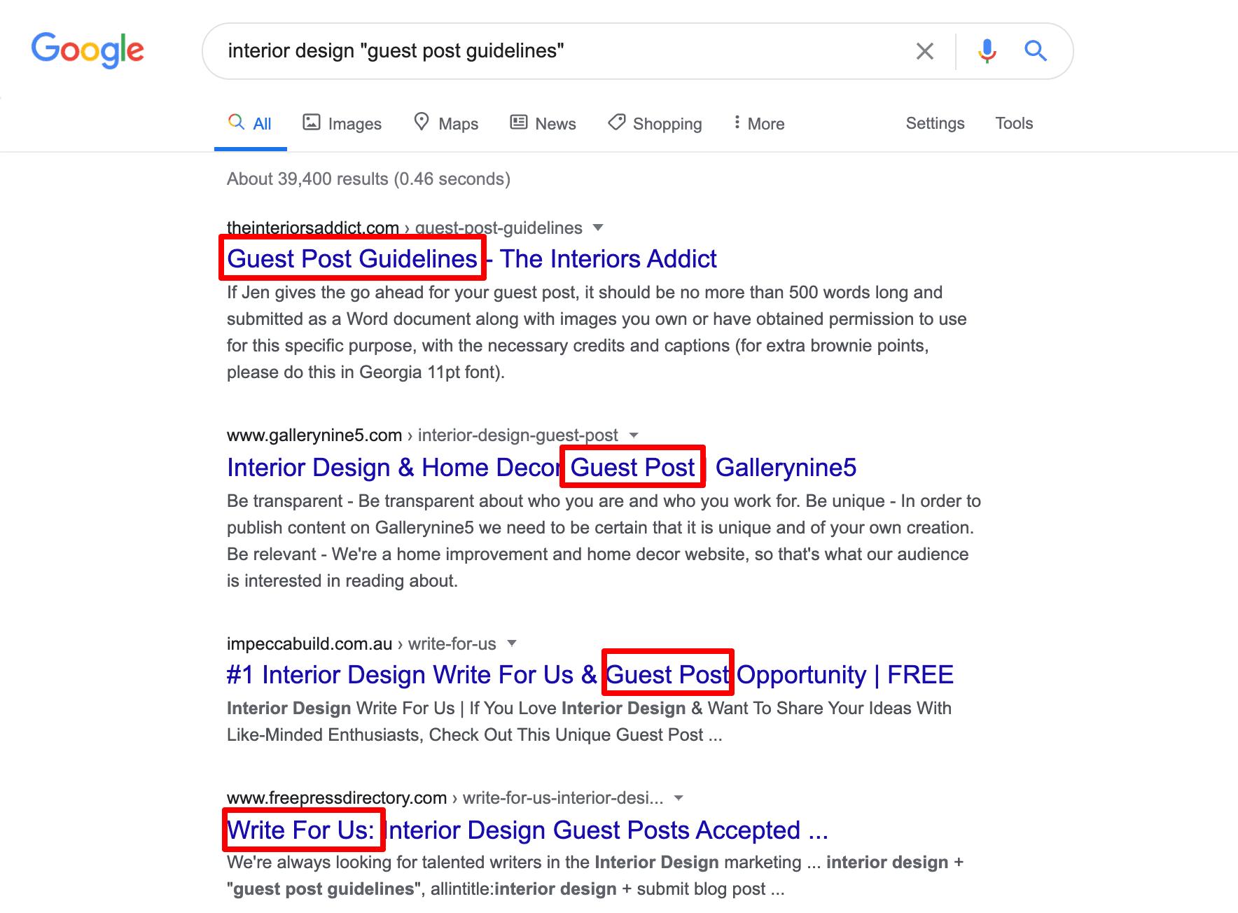 Google search operators for guest blogging