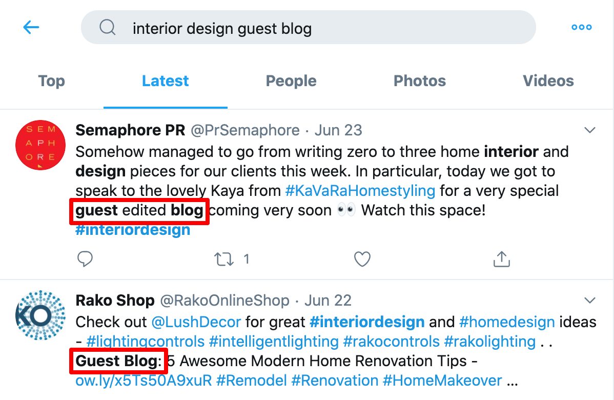 Twitter for guest blogging