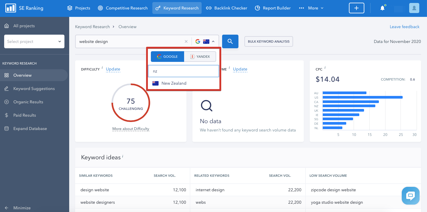 Choosing a country in SE Ranking's tools