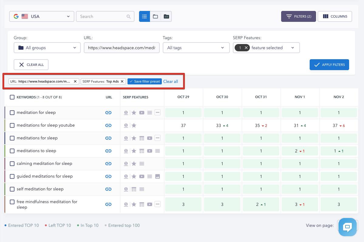Filtering presets in Rankings