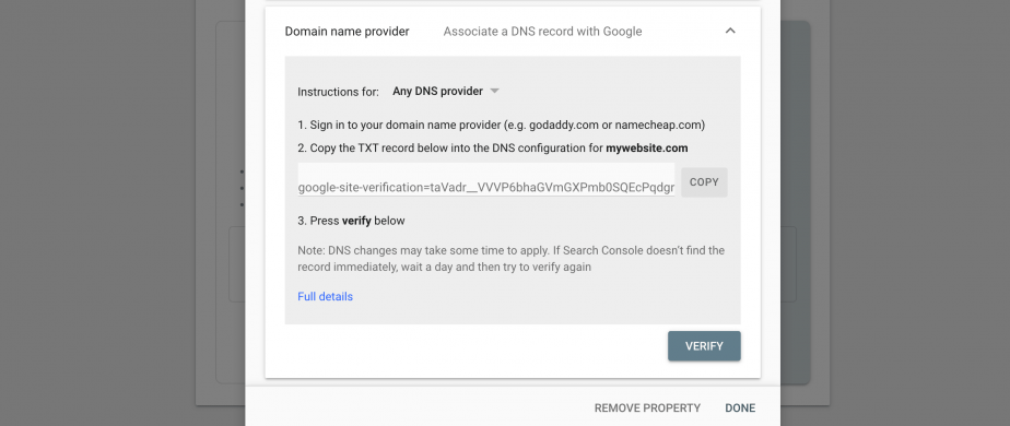 DNS provider in GSC