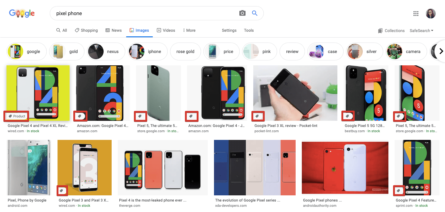 Product badge in Google Images