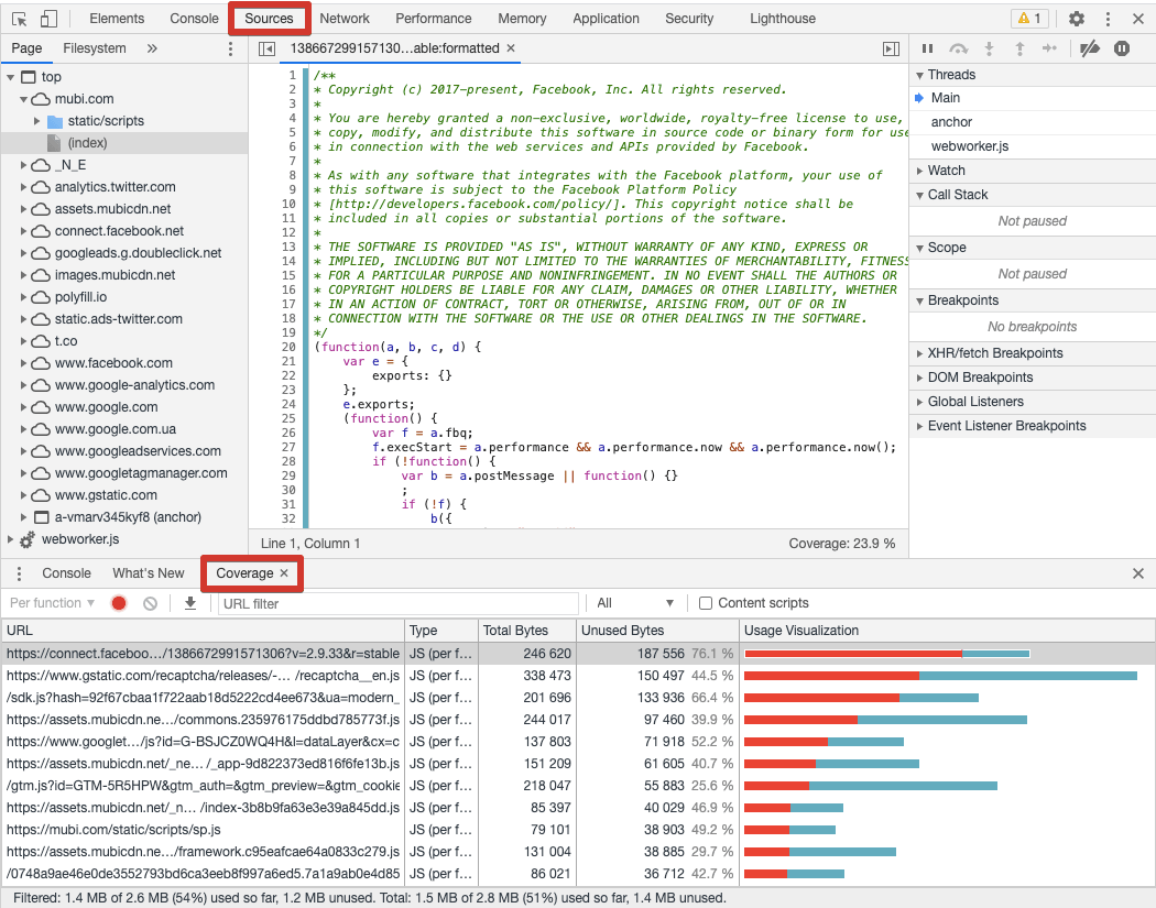 Stats on JS and CSS files in Developer Tools in Chrome