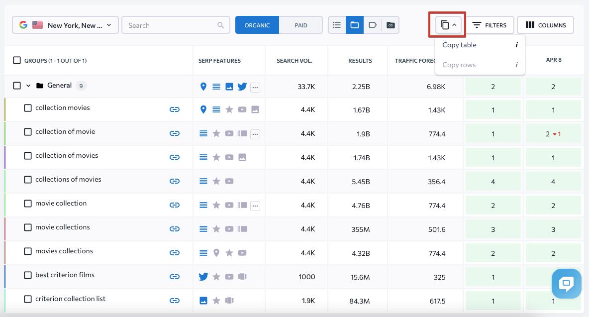Copie des données de classement à partir du classement SE