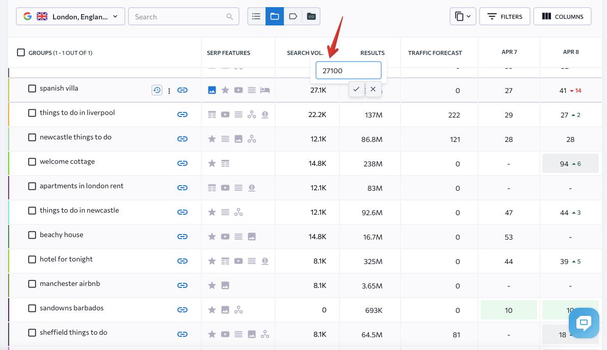 Saisie des volumes de recherche par mot-clé lors de la vérification des classements