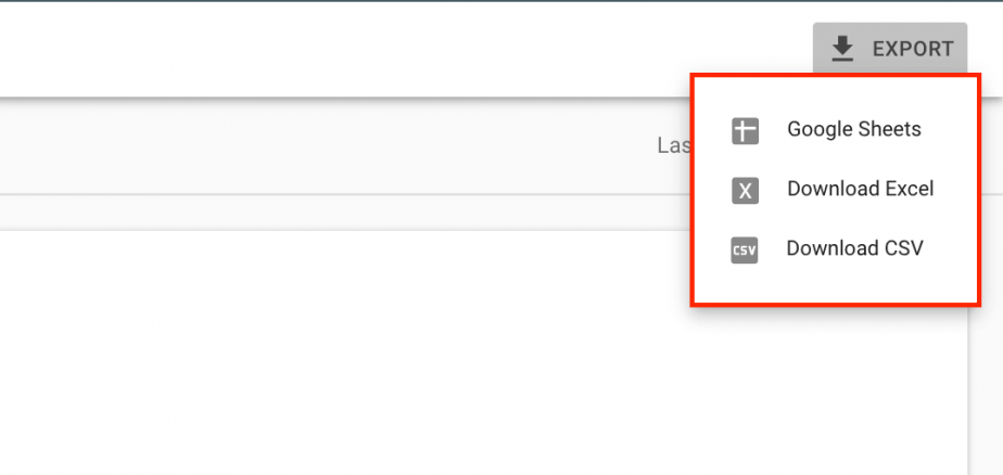 Export results in Google Search Console