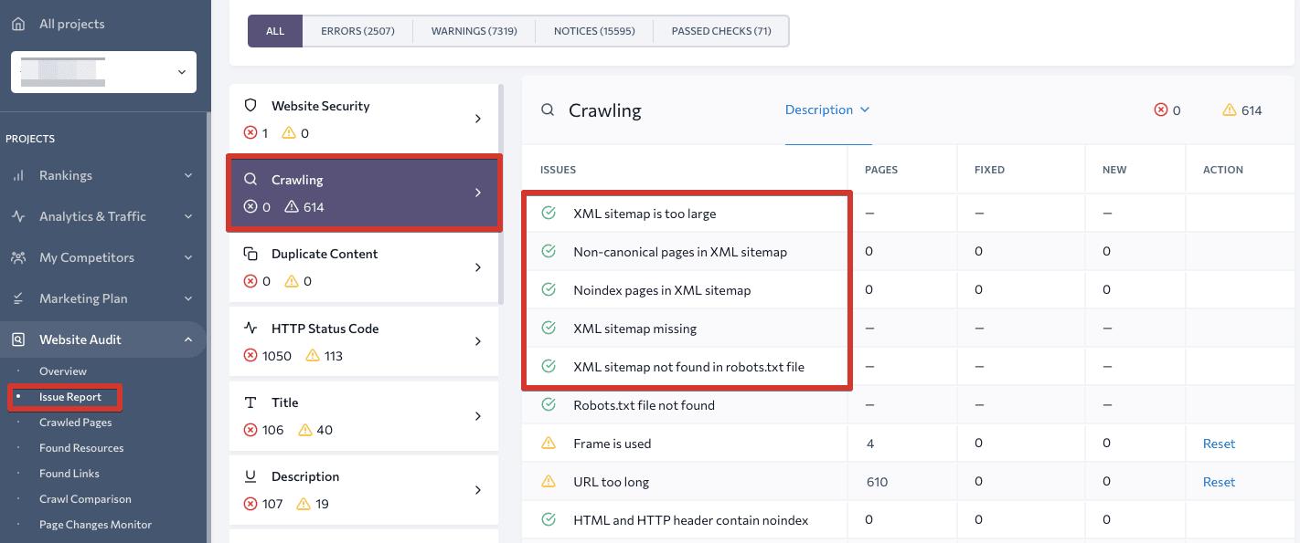 Sitemap check in Website Audit