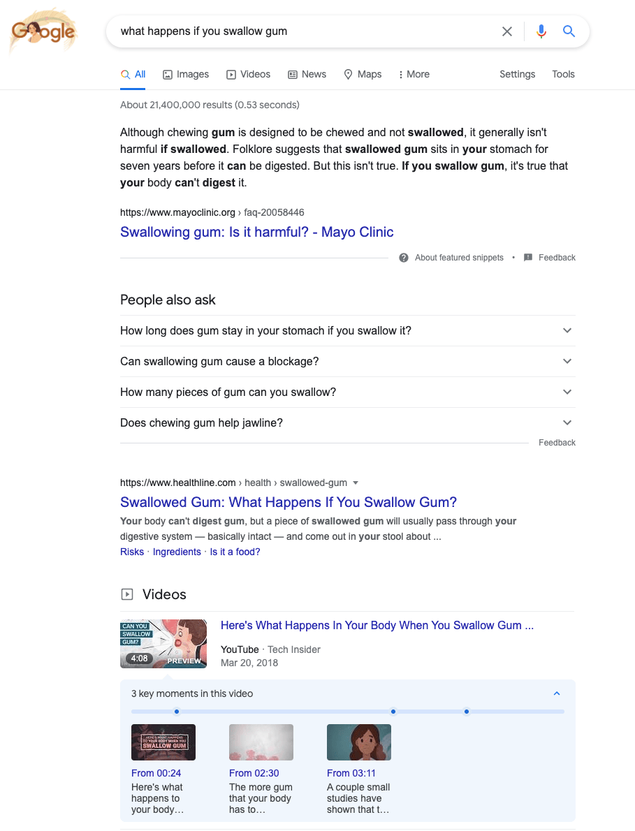 Search results for a specific informational query