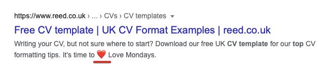 Emojis in the page's description