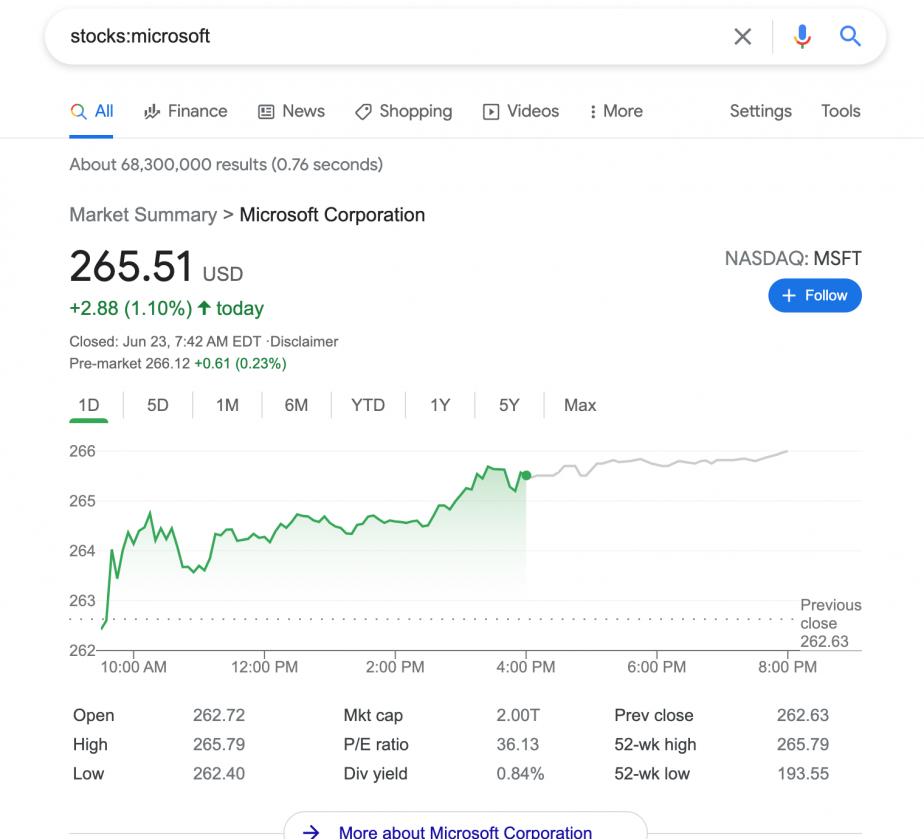 stocks:microsoft