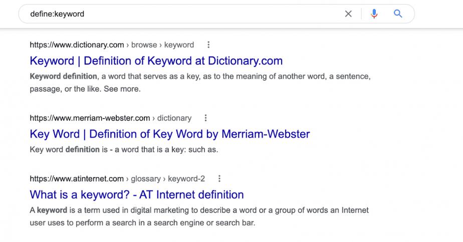 define:keyword