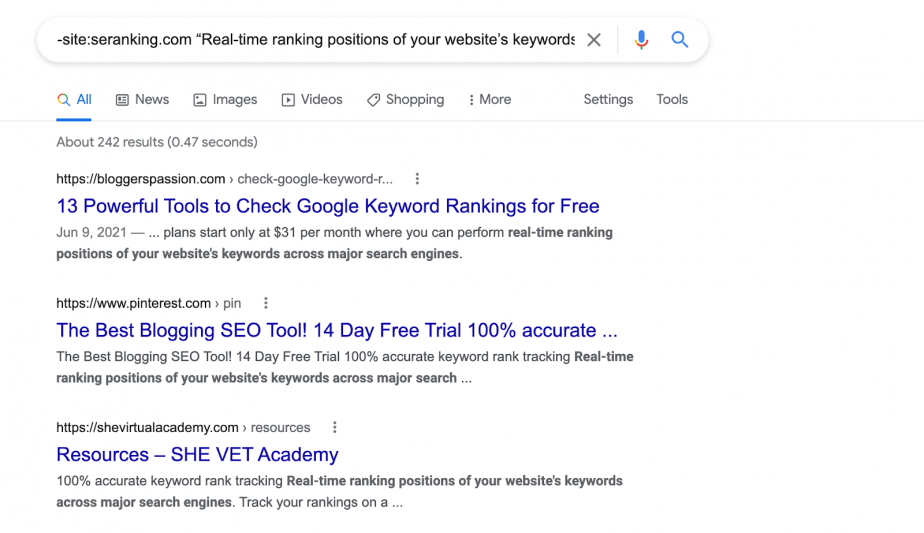 Real-time ranking positions of your website's keywords across major search engines